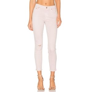 MOTHER The Looker Distressed Cropped Jeans Blush